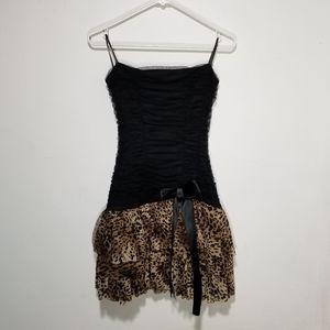 Strapless Leopard Print Mini Dress